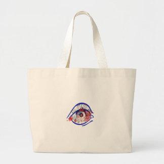 Blue Bloodshot Eye with Cracks Large Tote Bag