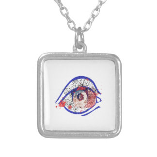 Blue Bloodshot Eye with Cracks Square Pendant Necklace