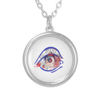 Blue Bloodshot Eye with Cracks Round Pendant Necklace