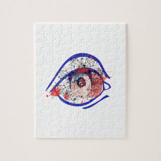 Blue Bloodshot Eye with Cracks Jigsaw Puzzles