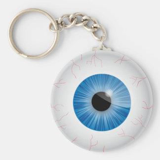 Blue Bloodshot Eyeball Basic Round Button Keychain