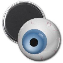 Blue Bloodshot Zombie Eyeball Halloween Magnet