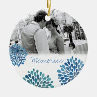 Blue Bloom Bursts Wedding Love Photo Ornament