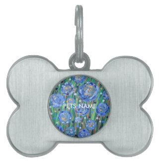 Blue Blooms Pet ID Tag