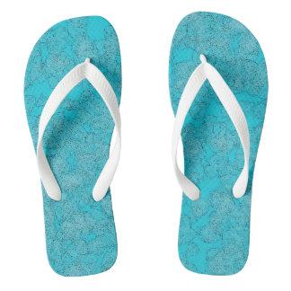 Blue Blossom Flip Flops