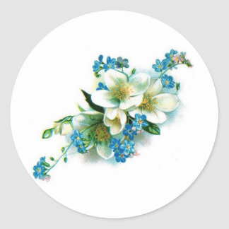 Blue Blossoms Classic Round Sticker