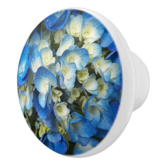 Blue Blossoms Floral Ceramic Knob