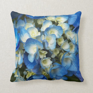 Blue Blossoms Floral Throw Pillow