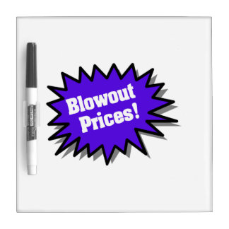 Blue Blowout Prices Dry-Erase Board