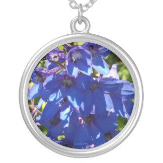 Blue Blue Bells Round Pendant Necklace