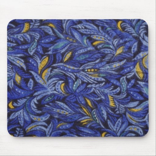 Blue Blue flowers on black flowers Mouse Pad