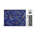 Blue Blue flowers on black flowers Stamp