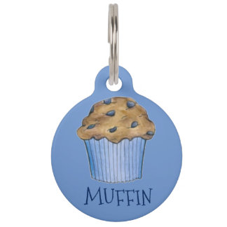 Blue Blueberry Baked Goods Muffin Personalized Pet Tag