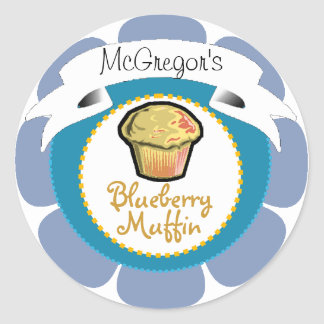 Blue blueberry muffin cupcake label