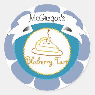 Blue blueberry tart pie label