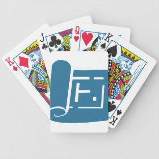 Blue Blueprint Plan Icon Bicycle Playing Cards