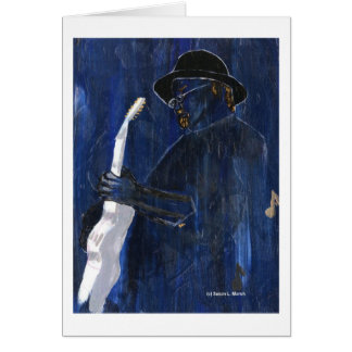 Blue Blues Guitar player painting acrylic Card