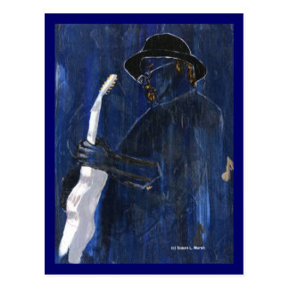 Blue Blues Guitar player painting acrylic Postcard
