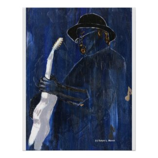 Blue Blues Guitar player painting acrylic Poster