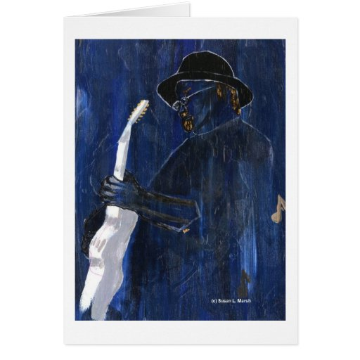 Blue Blues Guitar player painting acrylic Stationery Note Card