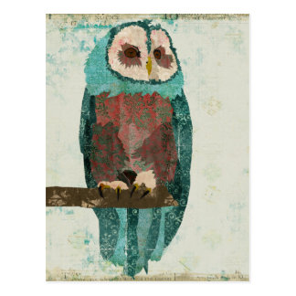 Blue Blush Owl Postcard