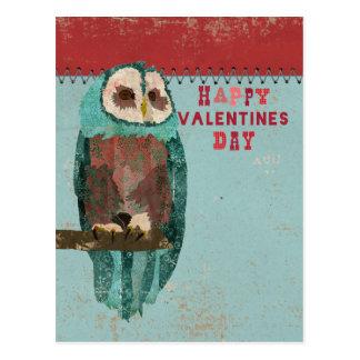 Blue Blush Owl Valentines Day Postcard