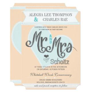 Blue Blush Peach Mr and Mrs Typography Wedding Invitation