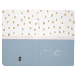 Blue blush pink gold glitter colorblock polka dots journal