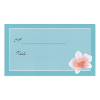 Blue & Blush Pink Orchid Placecard Double-Sided Standard Business Cards (Pack Of 100)