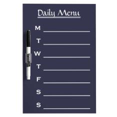 Blue Board Chalkboard Daily Menu Weekly Menu at Zazzle