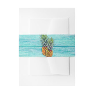 Blue Boards Pineapple Wedding Invitation Belly Band