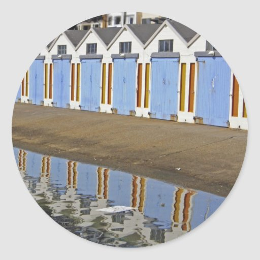 Blue Boat Houses Classic Round Sticker