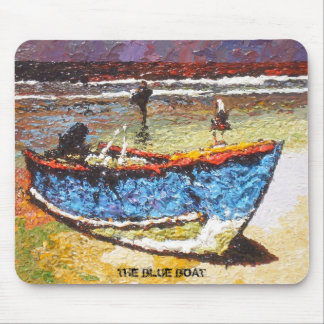 Blue Boat Mouse Pad