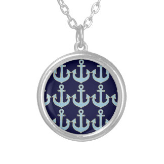 blue boat nautical anchor pattern silver plated necklace
