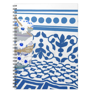 Blue boat of crista with flowers indigo spiral notebook