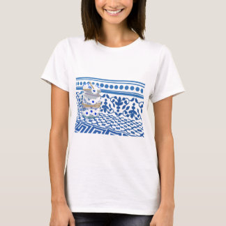 Blue boat of crista with flowers indigo T-Shirt