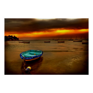 blue boat orange sky poster