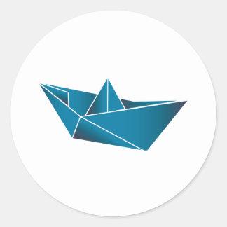 Blue Boat Origami Classic Round Sticker