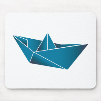 Blue Boat Origami Mouse Pad