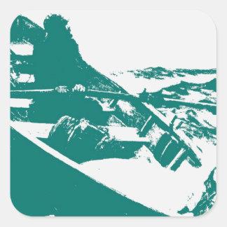 Blue Boat Winslow Homer Foghorn Square Sticker