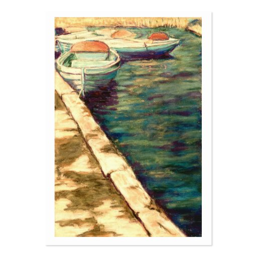 Blue Boats at Llangors Artist Trading Card Large Business Cards (Pack Of 100)
