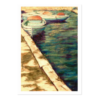 Blue Boats at Llangors Artist Trading Card Large Business Card