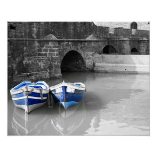 Blue boats B & W harbour Poster
