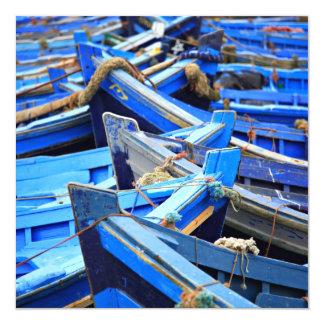 """Blue Boats 5.25"""" Square Invitation Card"""