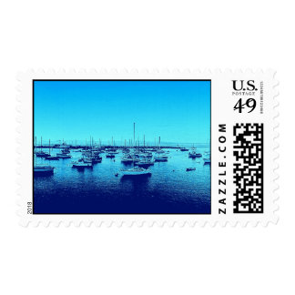 Blue Boats on Blue Bay Postage