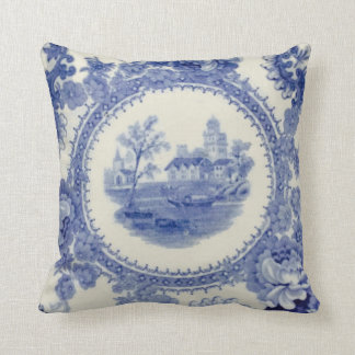 """Blue Boats on the Bay 16"""" by 16"""" Throw Pillow"""