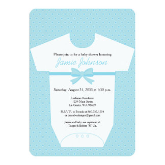 Blue Body Suit Baby Shower Invitation