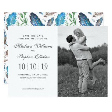 Aztec Themed Blue Boho Aztec Watercolor - Save the Date Card