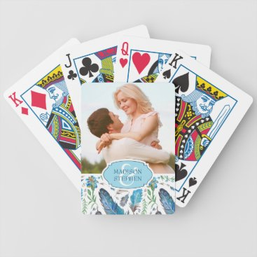 Aztec Themed Blue Boho Aztec Watercolor - Wedding Photo Bicycle Playing Cards