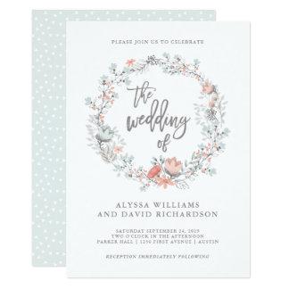 Blue Boho Botanical Wedding Invitation